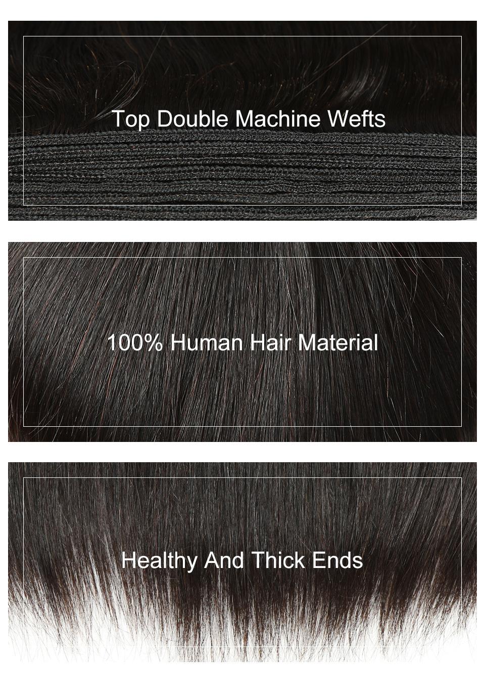 Indian Hair Straight Hair Bundles 100% Natural Human Hair  Bundles Double Wefts Thick Remy Hair 4