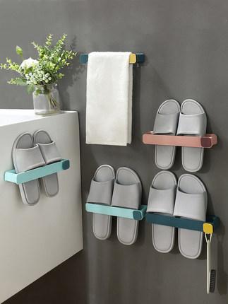Bathroom slippers rack toilet rack wall-mounted free punch hook toilet storage artifact foldable 0