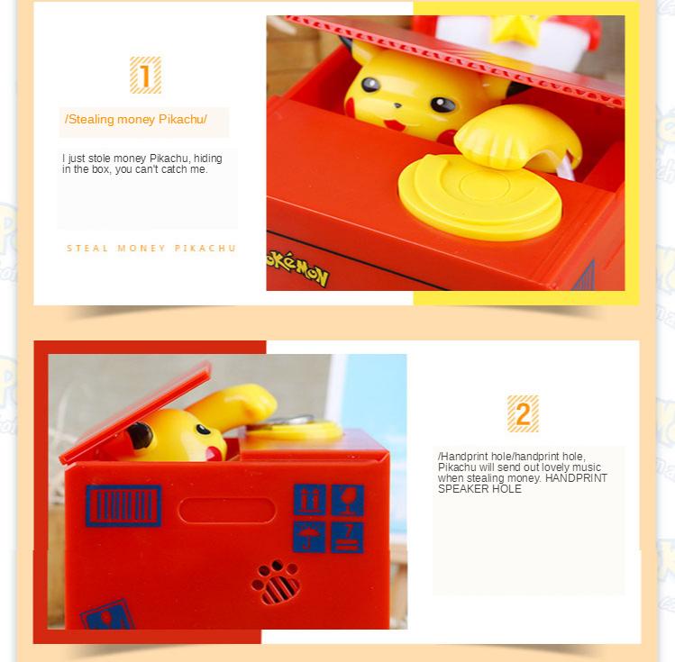 Steal money cat piggy bank Pikachu piggy bank net red the same paragraph children's birthday gift piggy box boys and girls 2