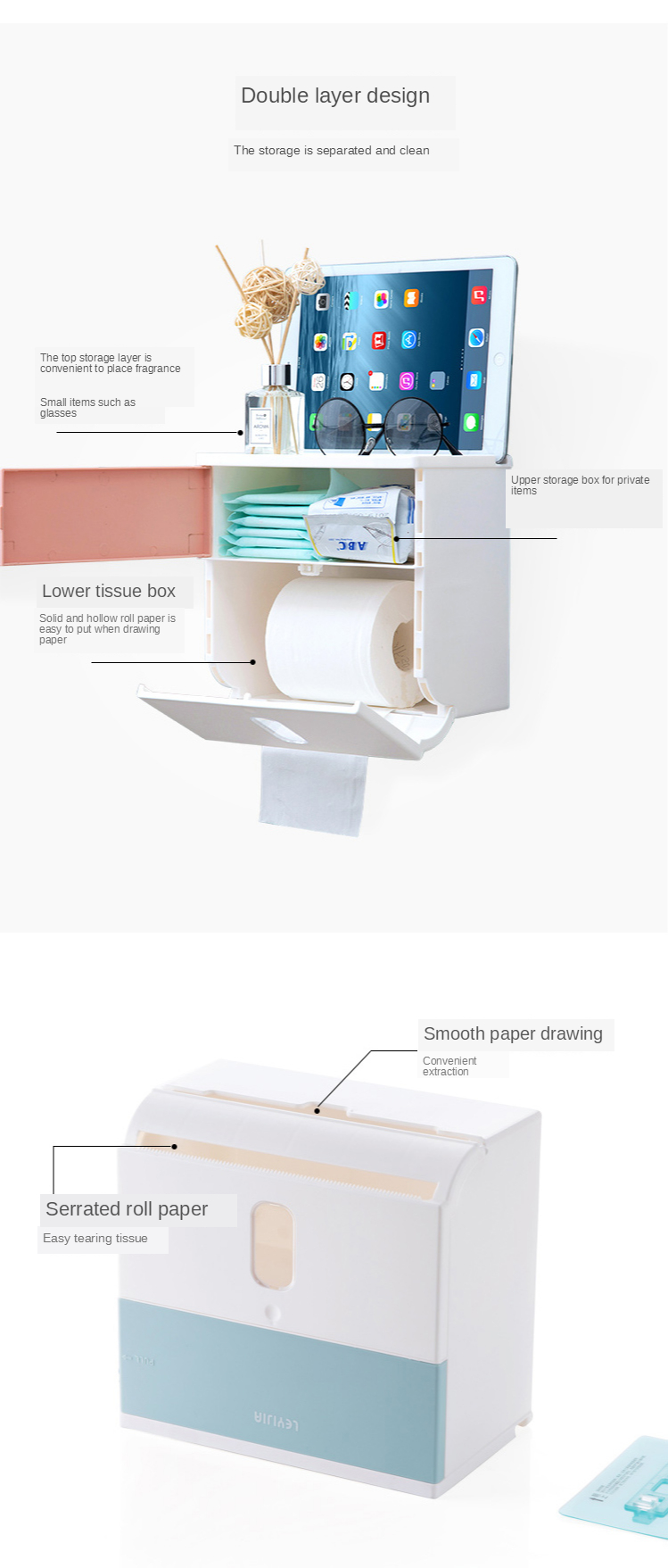 Home-home wall-mounted kitchen paper rack cabinet paper towel rack punch-free sticky hanging paper storage box 7
