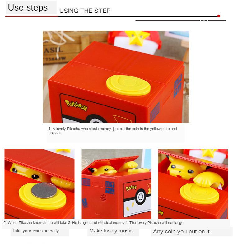 Steal money cat piggy bank Pikachu piggy bank net red the same paragraph children's birthday gift piggy box boys and girls 4