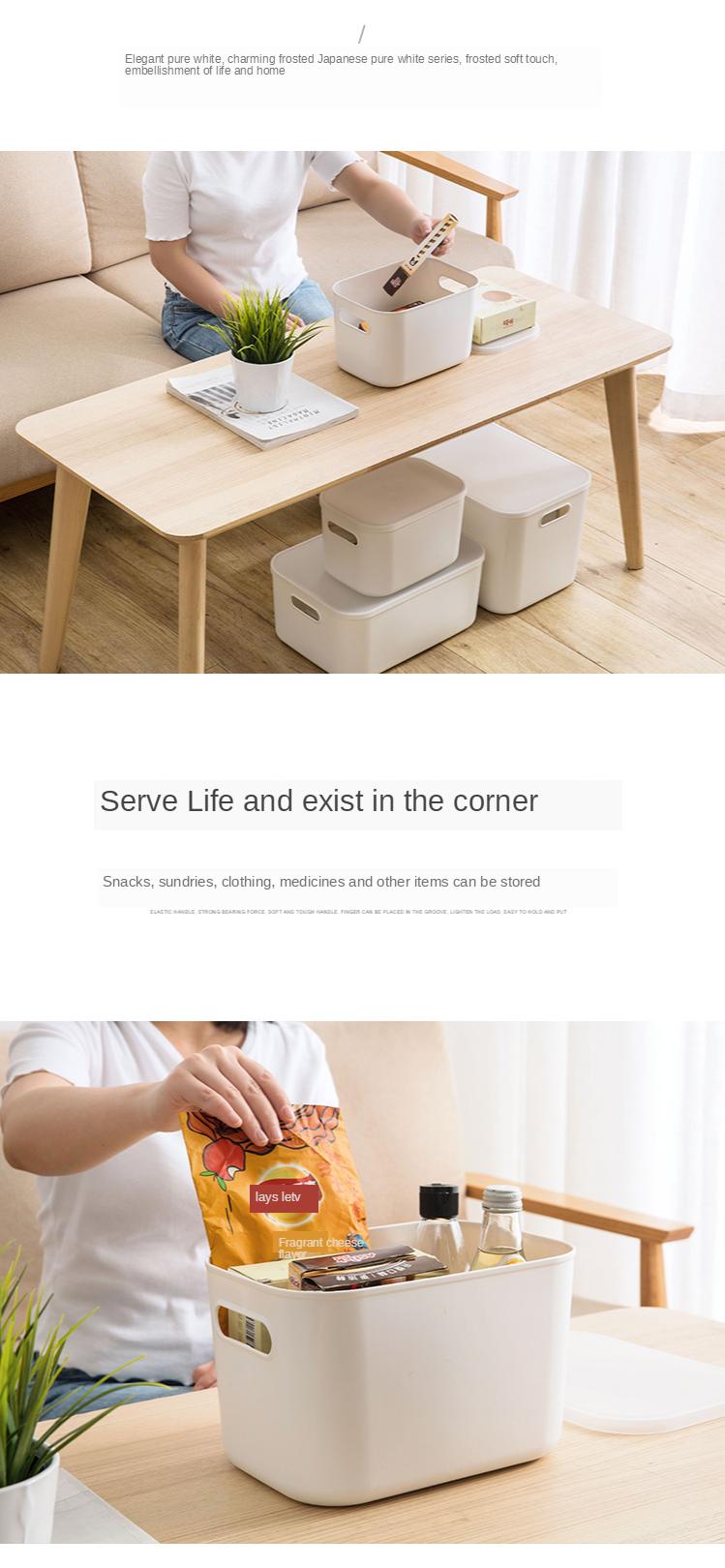Home Furnishing Storage Box with Lid Office Desktop Storage Box Plastic Wardrobe Dustproof Clothing Sorting Box 4