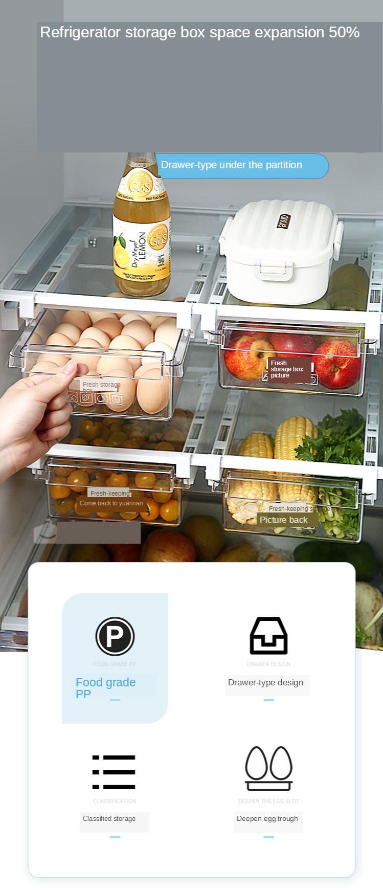 Home Refrigerator Storage Box Artifact Drawer Dedicated Food Storage Box Food Plastic Box Rectangular Egg Box 0