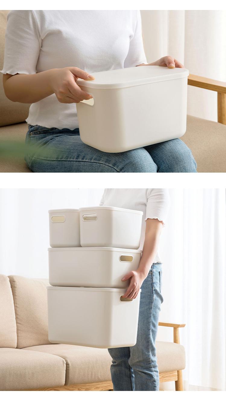Home Furnishing Storage Box with Lid Office Desktop Storage Box Plastic Wardrobe Dustproof Clothing Sorting Box 2