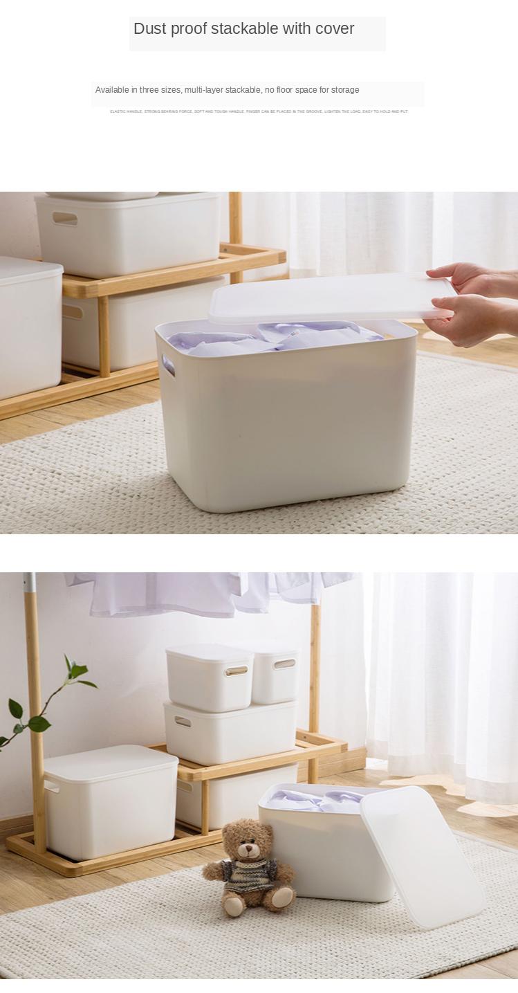Home Furnishing Storage Box with Lid Office Desktop Storage Box Plastic Wardrobe Dustproof Clothing Sorting Box 3