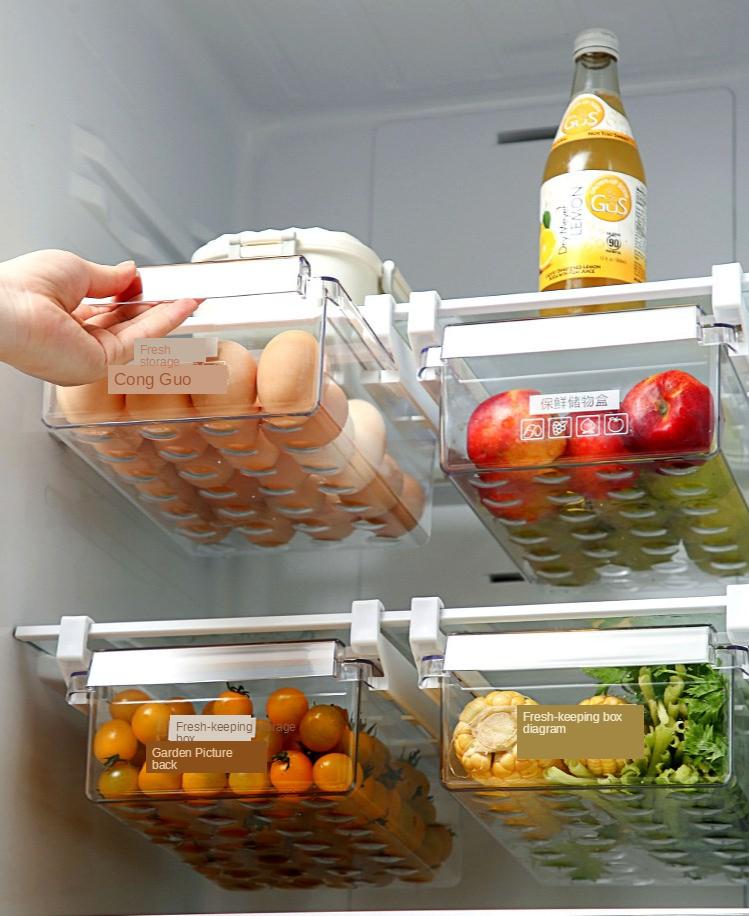 Home Refrigerator Storage Box Artifact Drawer Dedicated Food Storage Box Food Plastic Box Rectangular Egg Box 9