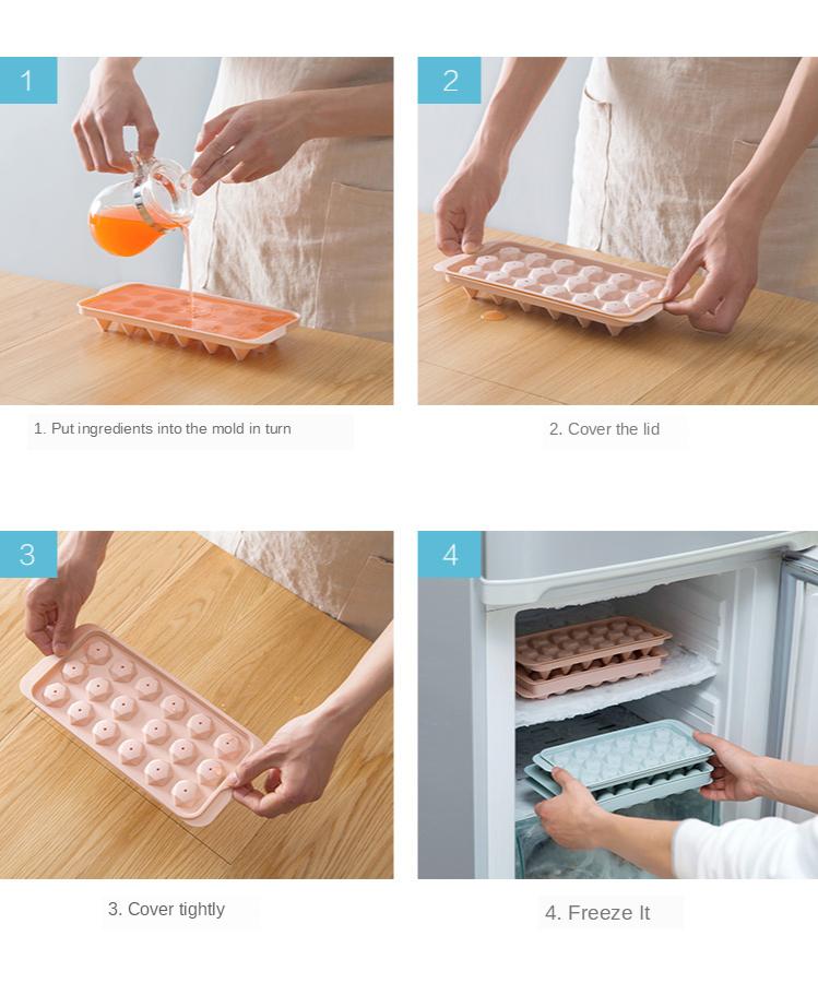 Homemade ice hockey frozen ice cube mold refrigerator ice box spherical ice tray creative home making ice tray box ice box 11