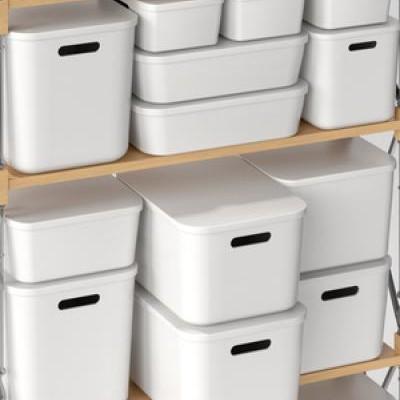Home Furnishing Storage Box with Lid Office Desktop Storage Box Plastic Wardrobe Dustproof Clothing Sorting Box