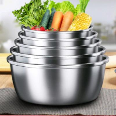 Household stainless steel basin thickened household baking egg beater sink kitchen non-stick noodle kneading and basin