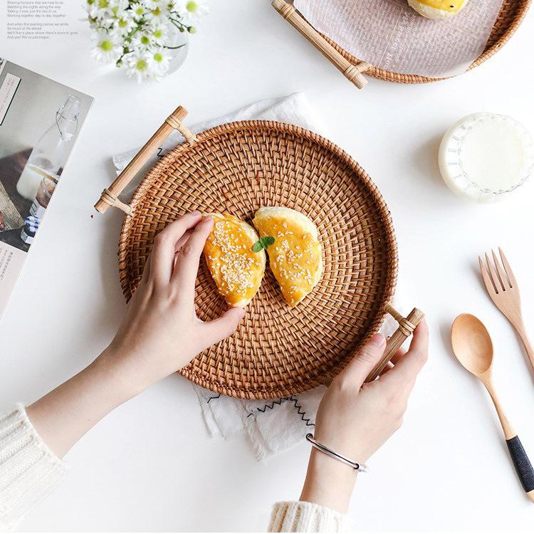 Rattan tray, bread, fruit snack, binaural portable picnic basket, desktop storage basket 3