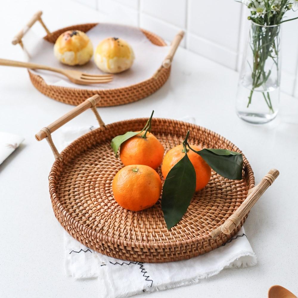Rattan tray, bread, fruit snack, binaural portable picnic basket, desktop storage basket 7