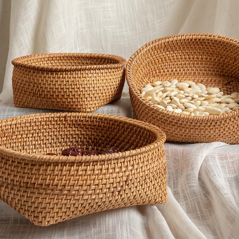 Autumn vine, woven storage basket, desktop sorting, nuts, dried fruit, fruit, steamed bread basket, snack storage box, three-piece set 1