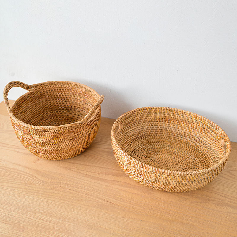 Hand-woven multifunctional storage fruit portable blue buns and bread storage basket 4