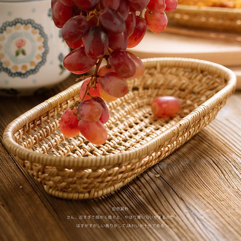 Woven storage basket, living room dining table, knife, fork, chopsticks box, snacks, fruit basket setA set 1