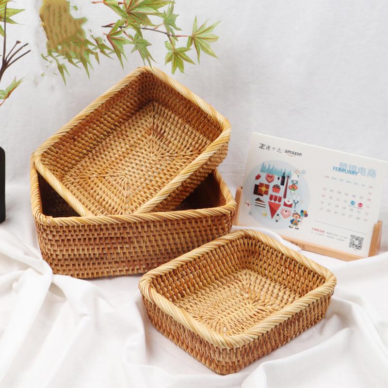 Rattan storage basket, picnic basket, fruit, vegetable, candy, snack, biscuit storage basket set of three 3