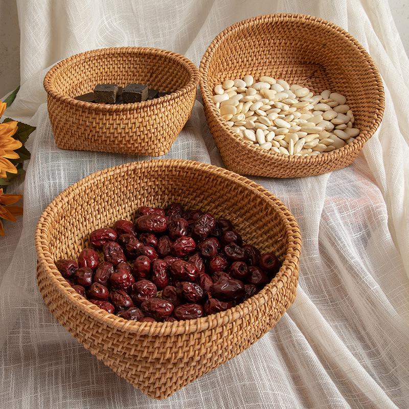 Autumn vine, woven storage basket, desktop sorting, nuts, dried fruit, fruit, steamed bread basket, snack storage box, three-piece set 0