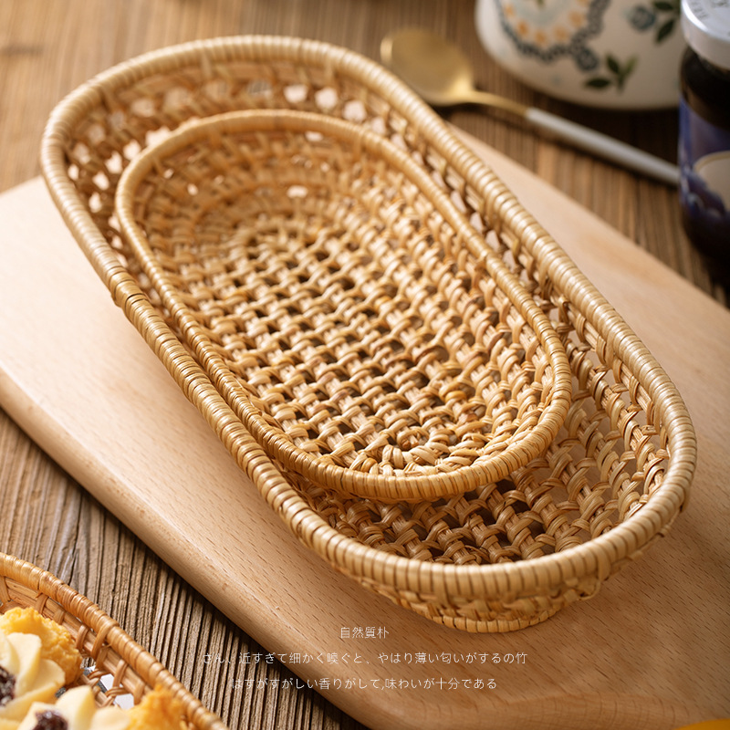 Woven storage basket, living room dining table, knife, fork, chopsticks box, snacks, fruit basket setA set 2