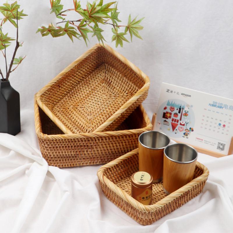 Rattan storage basket, picnic basket, fruit, vegetable, candy, snack, biscuit storage basket set of three 1