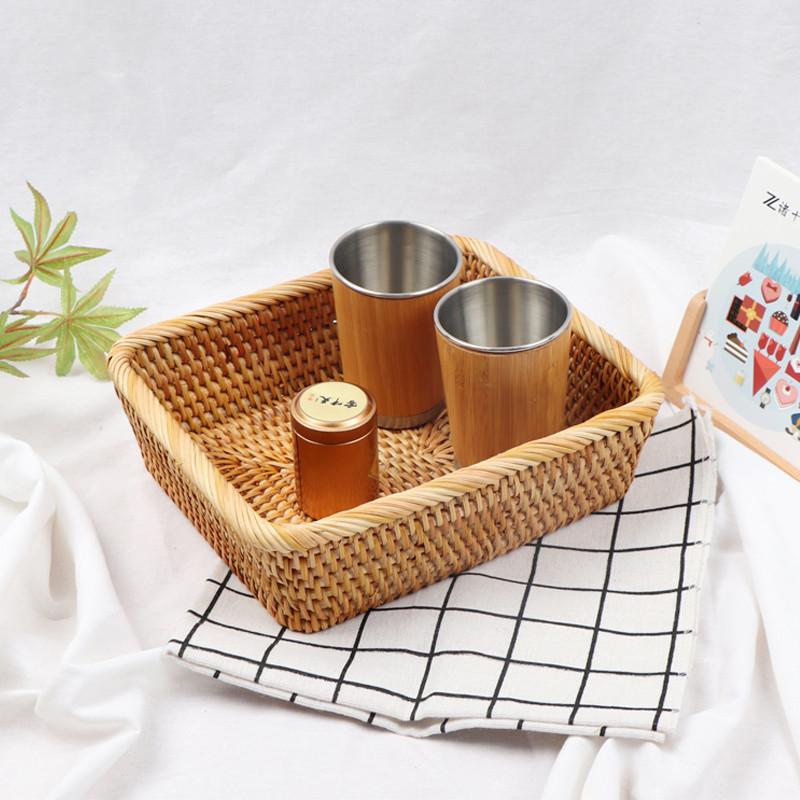 Rattan storage basket, picnic basket, fruit, vegetable, candy, snack, biscuit storage basket set of three 2