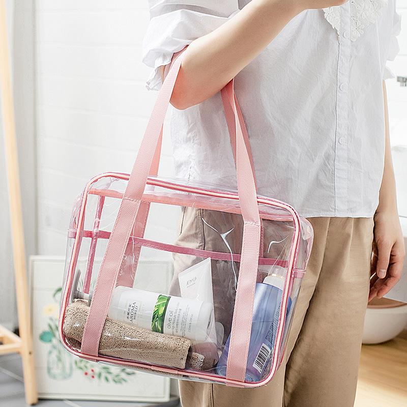 Capacity transparent toilet bag PVC handbag storage cosmetic bag shower bag waterproof travel storage bag 3