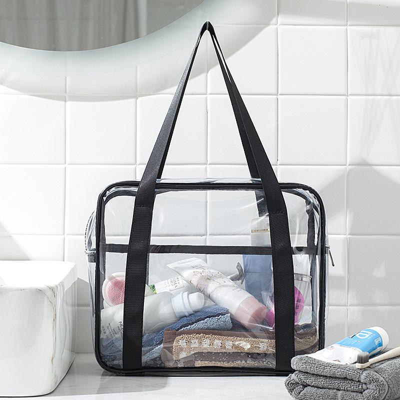 Capacity transparent toilet bag PVC handbag storage cosmetic bag shower bag waterproof travel storage bag 2