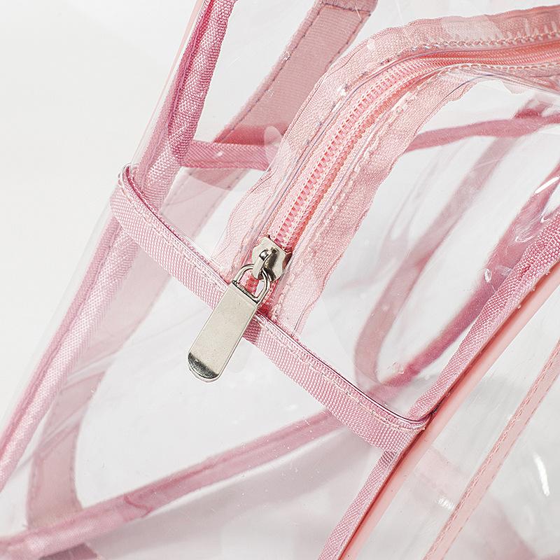 Capacity transparent toilet bag PVC handbag storage cosmetic bag shower bag waterproof travel storage bag 4