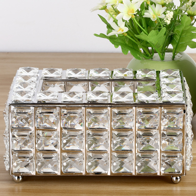 Rhinestone Tissue Box Paper Rack Office Table Accessories Facial Case Holder Napkin Tray for Home Hotel Car 1