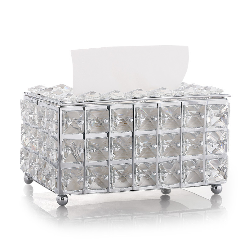 Rhinestone Tissue Box Paper Rack Office Table Accessories Facial Case Holder Napkin Tray for Home Hotel Car 0