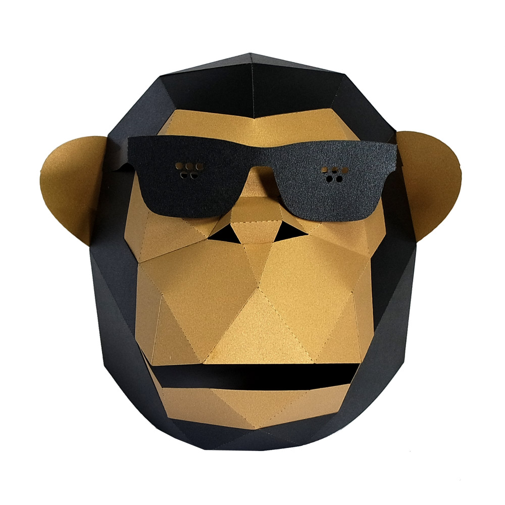 3D Paper Mask Fashion Sunglass Gorilla Animal Costume Cosplay DIY Paper Craft Model Mask Christmas Halloween Prom Party Gift 0
