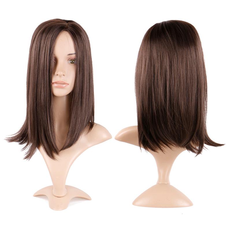 Wig female long straight hair chemical fiber mechanism wig brown split straight hair clavicle hair wig hair cover 3