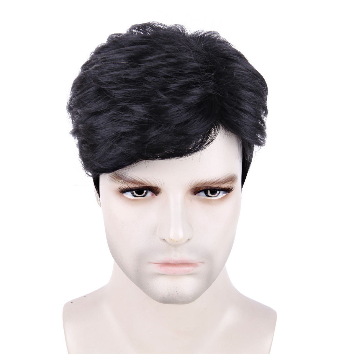 Wig male short hair men's wig black chemical fiber hair cover synthetic wigs men's wig 3