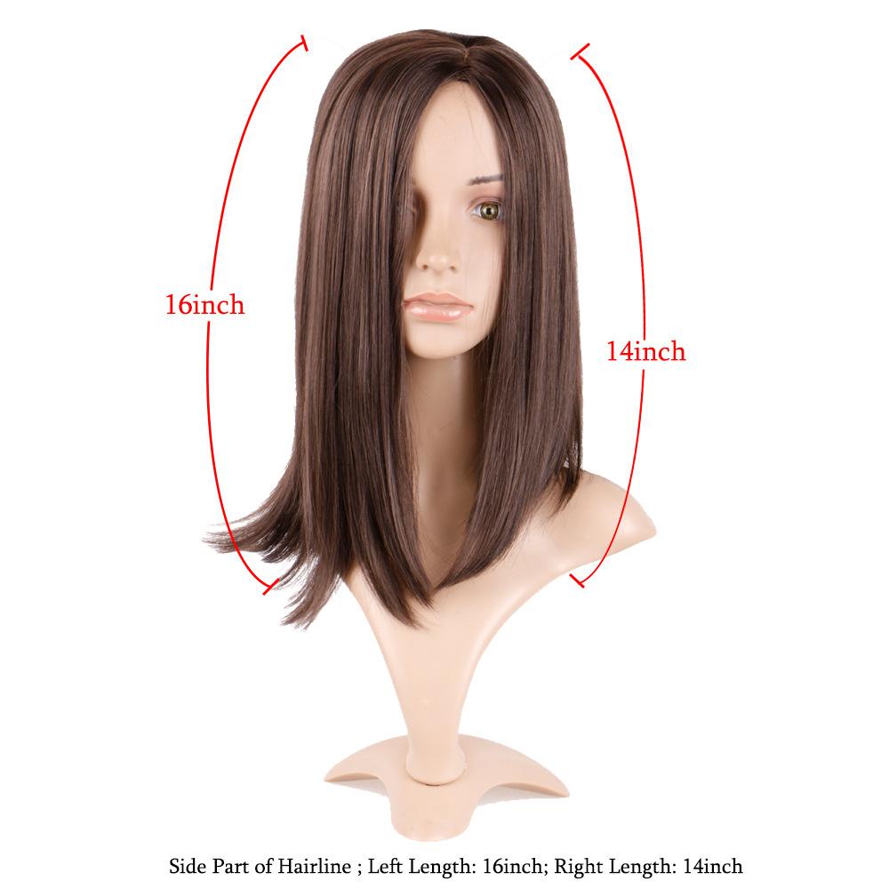 Wig female long straight hair chemical fiber mechanism wig brown split straight hair clavicle hair wig hair cover 4