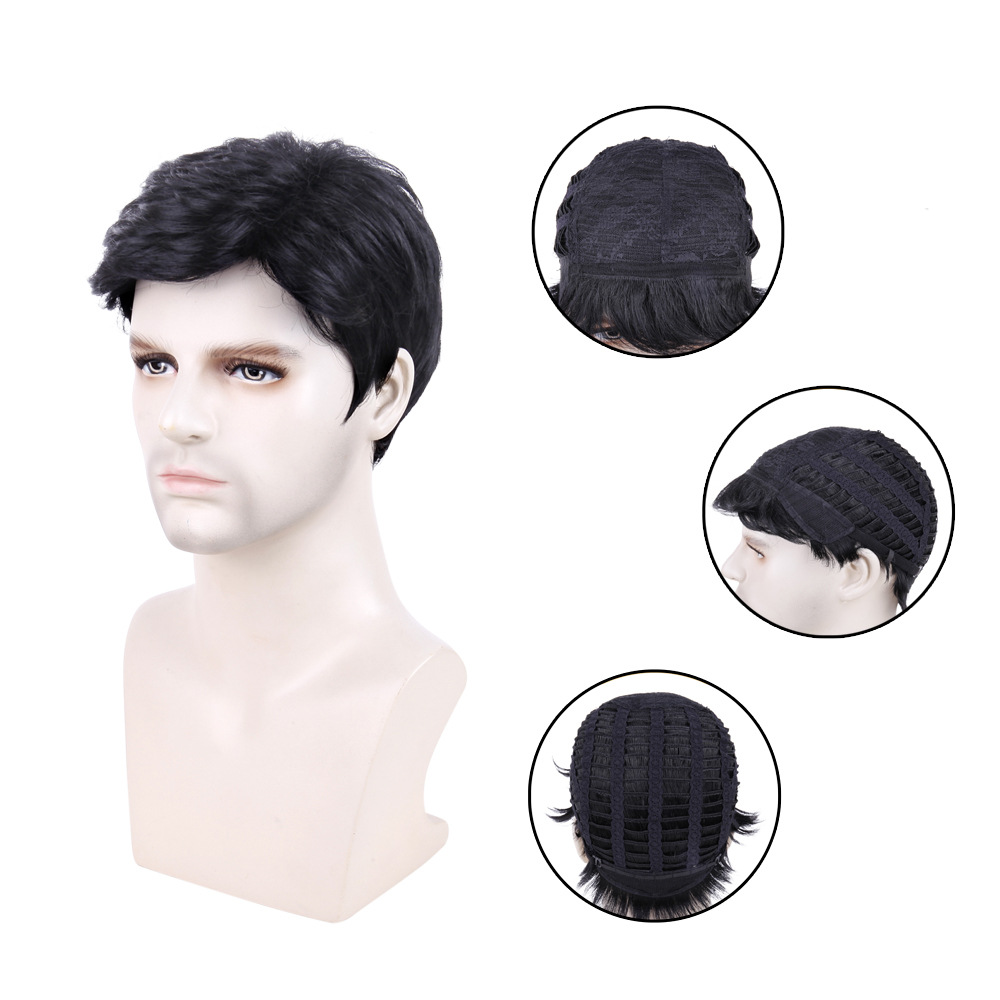 Wig male short hair men's wig black chemical fiber hair cover synthetic wigs men's wig 1