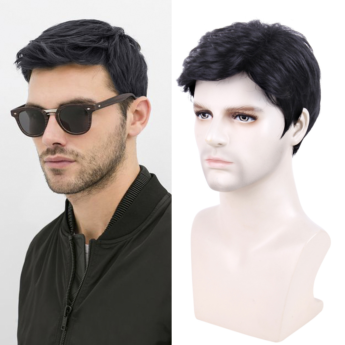 Wig male short hair men's wig black chemical fiber hair cover synthetic wigs men's wig 0