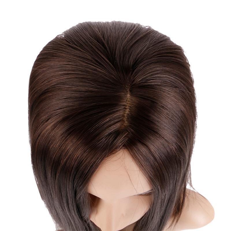 Wig female long straight hair chemical fiber mechanism wig brown split straight hair clavicle hair wig hair cover 2