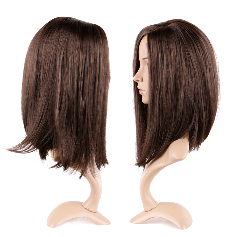 Wig female long straight hair chemical fiber mechanism wig brown split straight hair clavicle hair wig hair cover 1