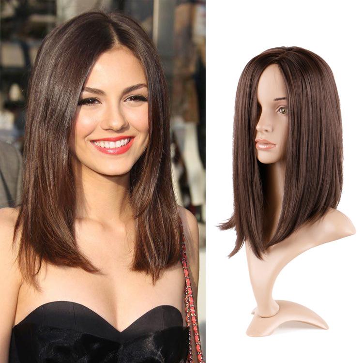 Wig female long straight hair chemical fiber mechanism wig brown split straight hair clavicle hair wig hair cover 0