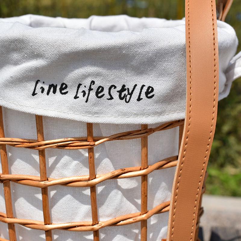 Rattan wicker straw woven flower basket diagonal flower basket cloth lining belt rattan bag basket portable 4