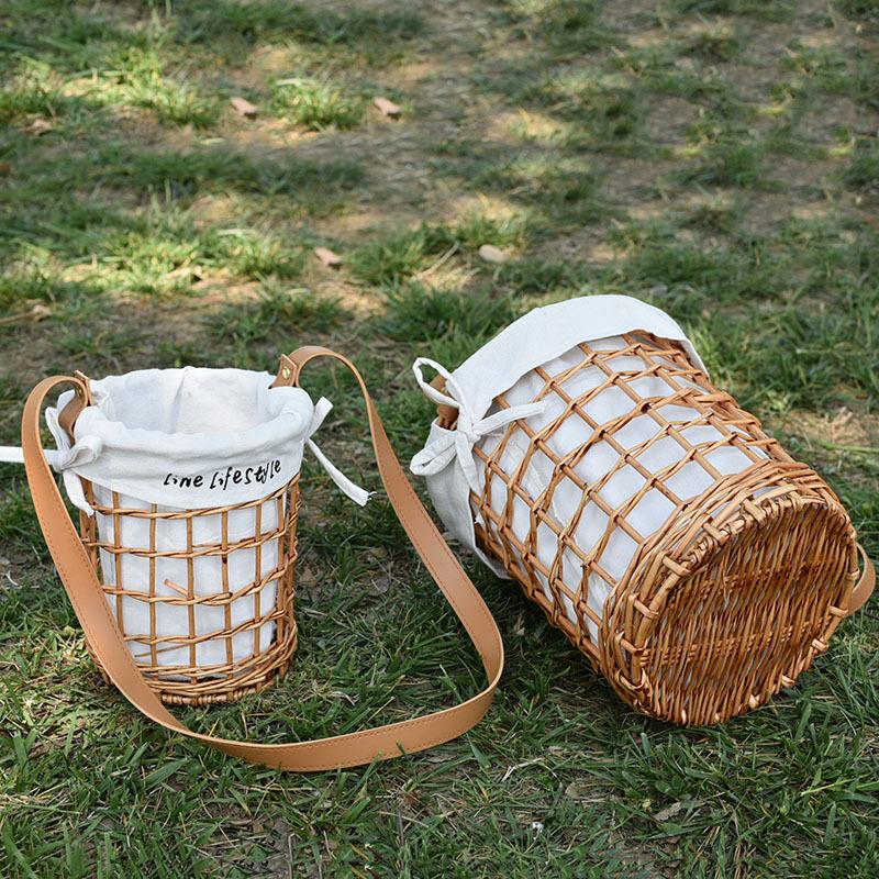 Rattan wicker straw woven flower basket diagonal flower basket cloth lining belt rattan bag basket portable 3