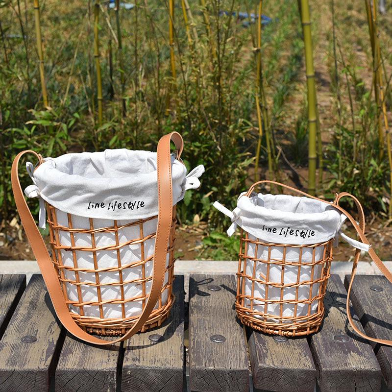Rattan wicker straw woven flower basket diagonal flower basket cloth lining belt rattan bag basket portable 2
