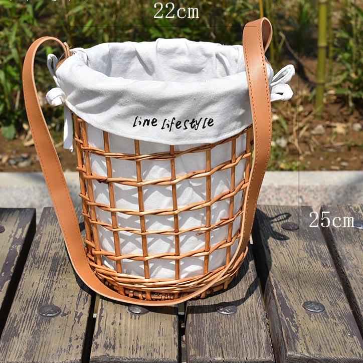 Rattan wicker straw woven flower basket diagonal flower basket cloth lining belt rattan bag basket portable 1