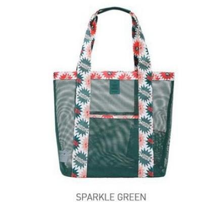 Outdoor travel storage bag, beach mesh bag, one-shoulder large capacity beach bag, multifunctional clothes storage bag