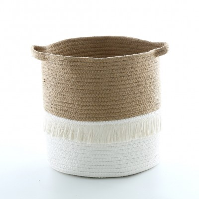Nordic ins cotton tassel storage basket woven finishing basket Nordic home finishing box children's room decoration