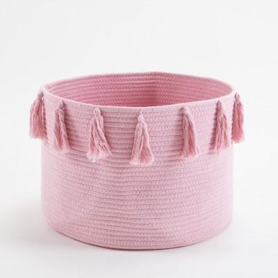 Nordic ins cotton rope braided tassel storage basket room debris storage basket baby diaper storage box