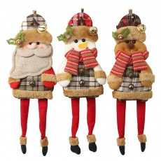 Christmas decorations gingham cloth hanging legs large doll old man snowman deer small pendant doll christmas tree pendant Sell for three
