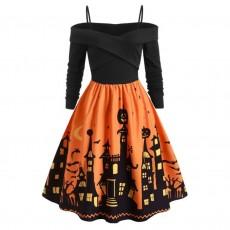Women Pumpkin Party Print Dress Halloween Long Sleeve V
