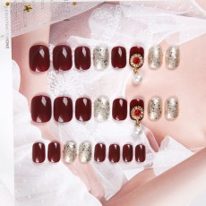 Nail stickers can be removed repeatedly, luxury bridal nails, finished products, with diamond burgundy wearable fake nail stickers