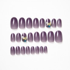 Fake nail patch is white, summer wear nail art advanced semi-permeable purple nail patch finished fairy nail patch Japanese