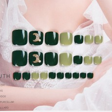 Nail Art Patch Finished Toe Summer Fake Toe Nail Patch Avocado Green Small Fresh Wearing Japanese Toe Sheet