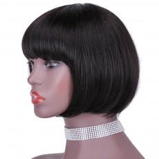 Short hair bobo headgear human hair wigs natural color wig